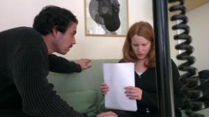 Francisco Sobrado och Nadja Mirmiran under inspelningen.